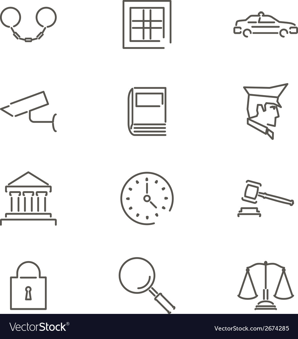 Modern line law legal justice icons and symbols vector | Price: 1 Credit (USD $1)