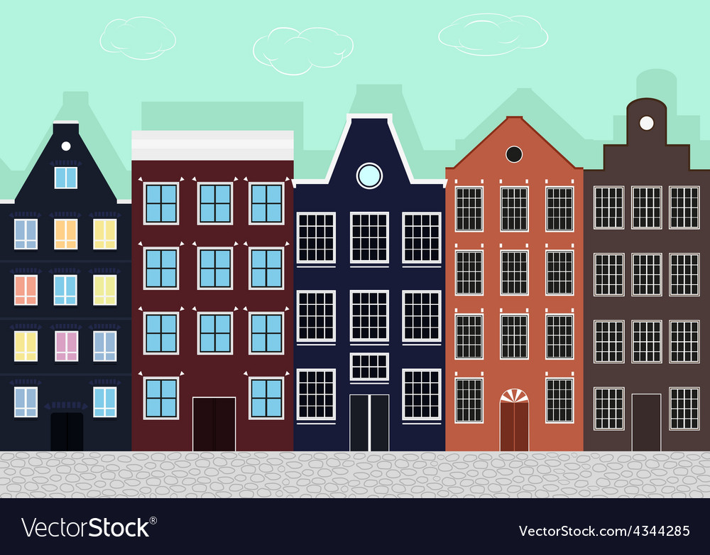 Original colourful european houses vector | Price: 1 Credit (USD $1)