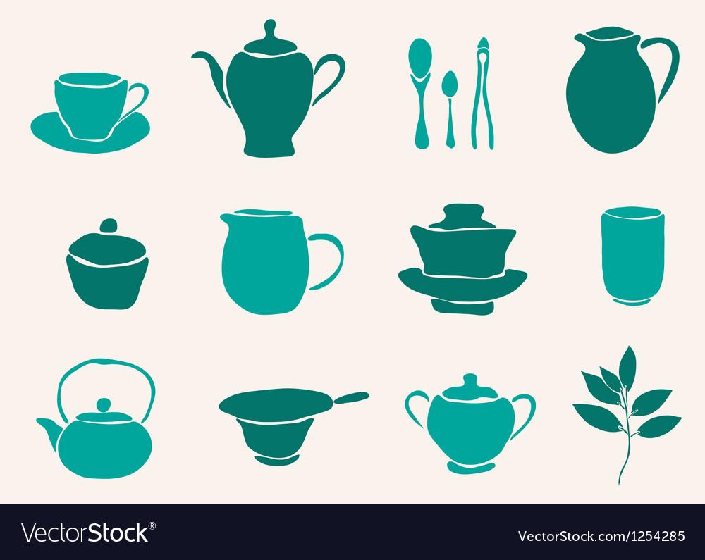 Set of tea accessories vector | Price: 1 Credit (USD $1)