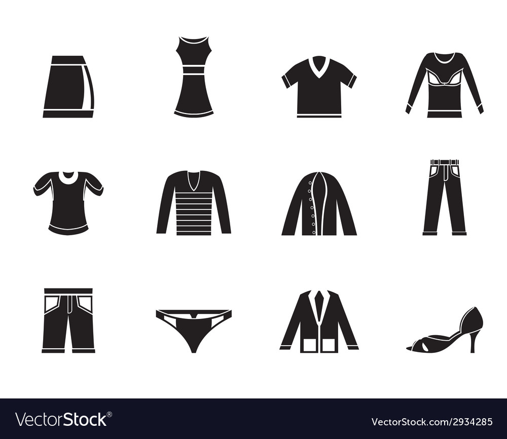 Silhouette clothing icons vector | Price: 1 Credit (USD $1)