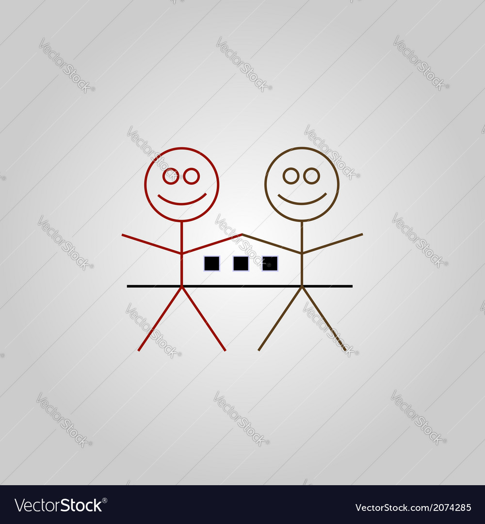Two happy stick figures with house vector | Price: 1 Credit (USD $1)
