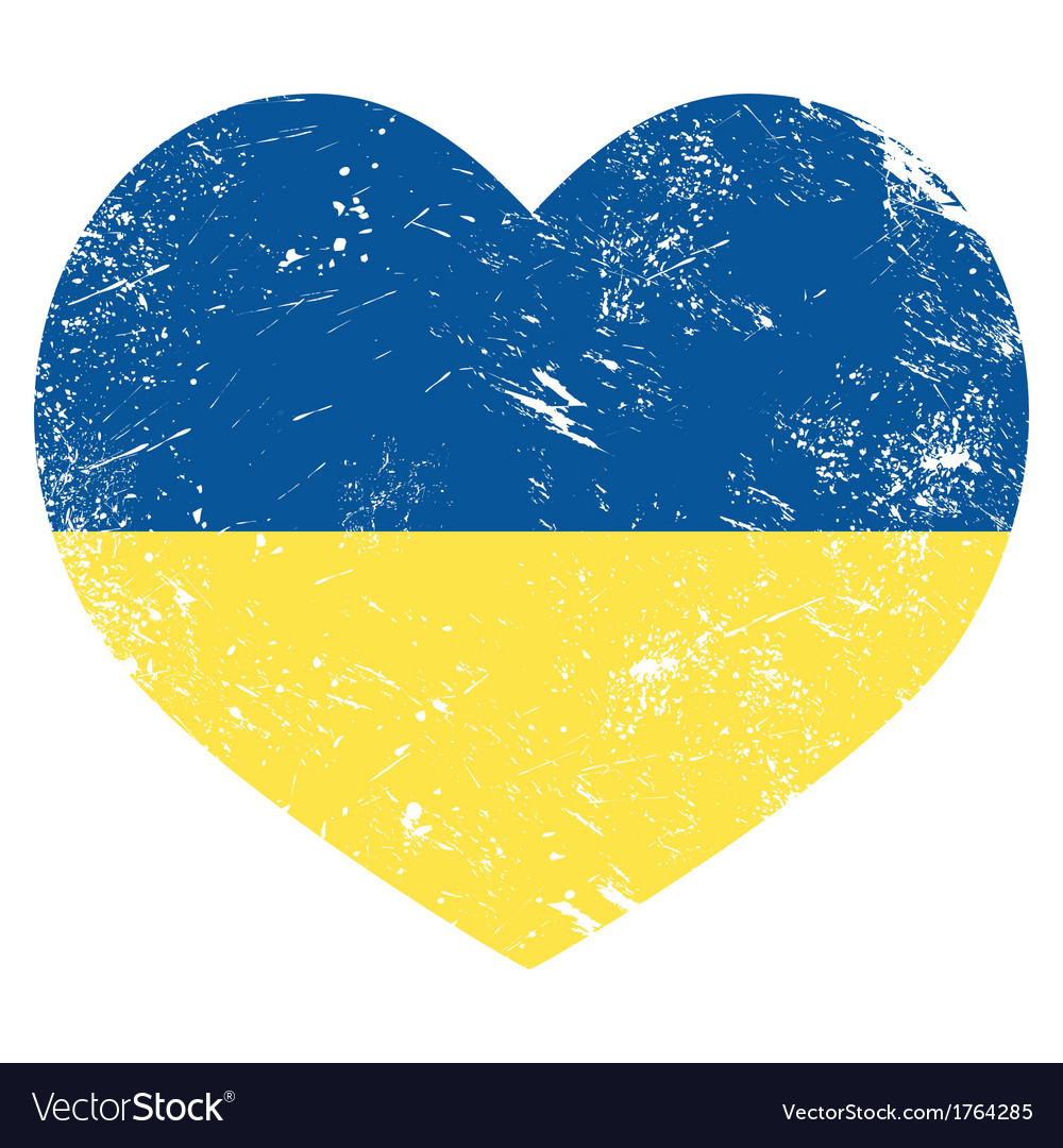 Ukraine retro heart flag - vector | Price: 1 Credit (USD $1)