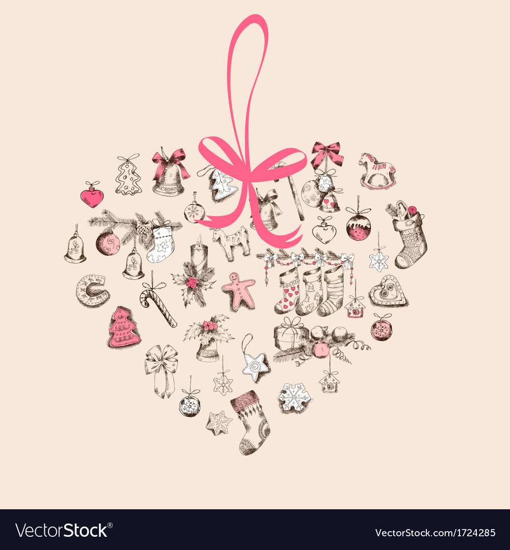 Vintage christmas heart card vector | Price: 1 Credit (USD $1)