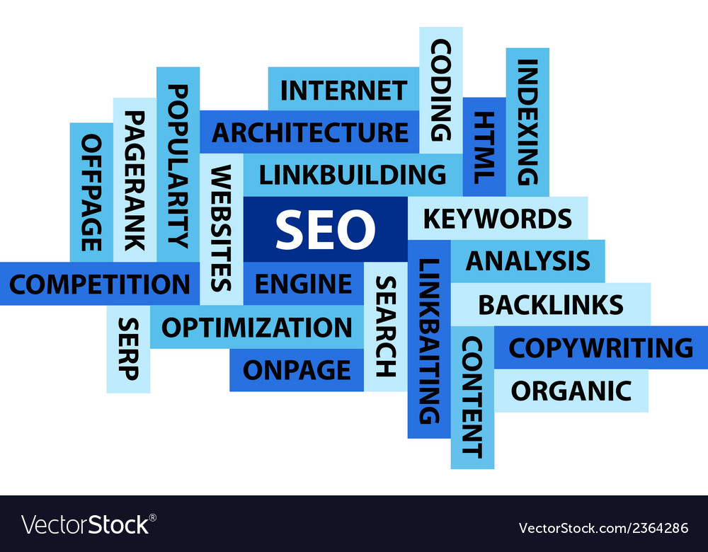 Abstract image composed from words related to seo vector | Price: 1 Credit (USD $1)