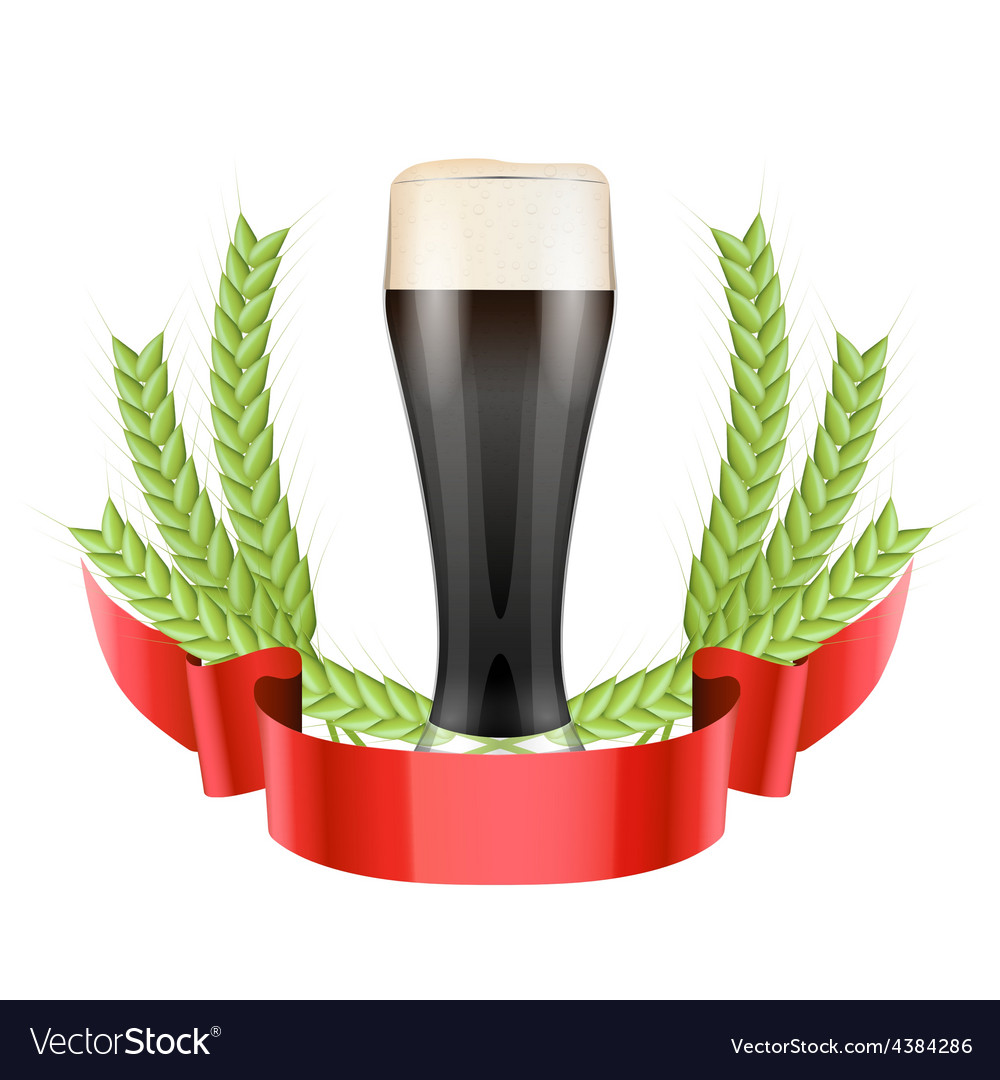 Brewery label with dark beer glass and green malt vector | Price: 1 Credit (USD $1)