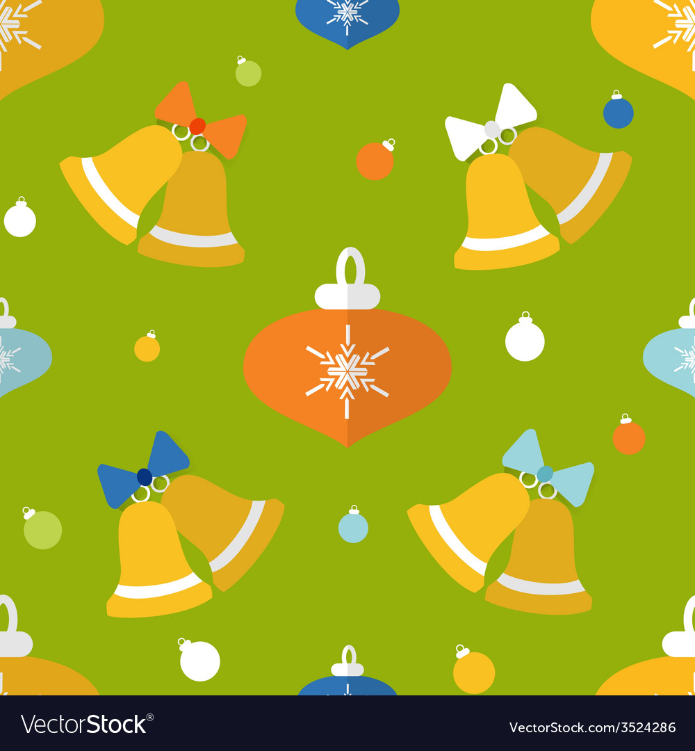 Flat seamless pattern with bells and decorations vector | Price: 1 Credit (USD $1)