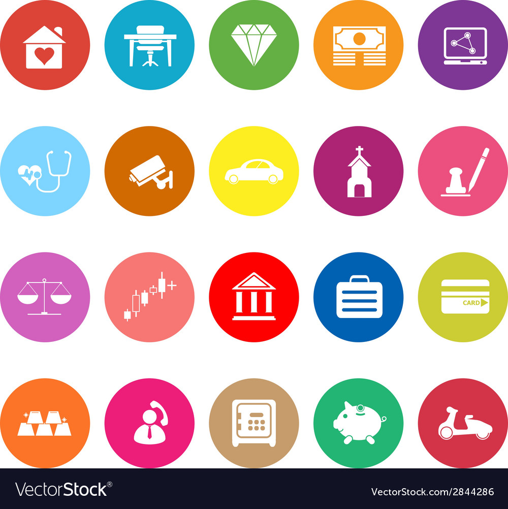 Insurance related flat icons on white background vector   Price: 1 Credit (USD $1)