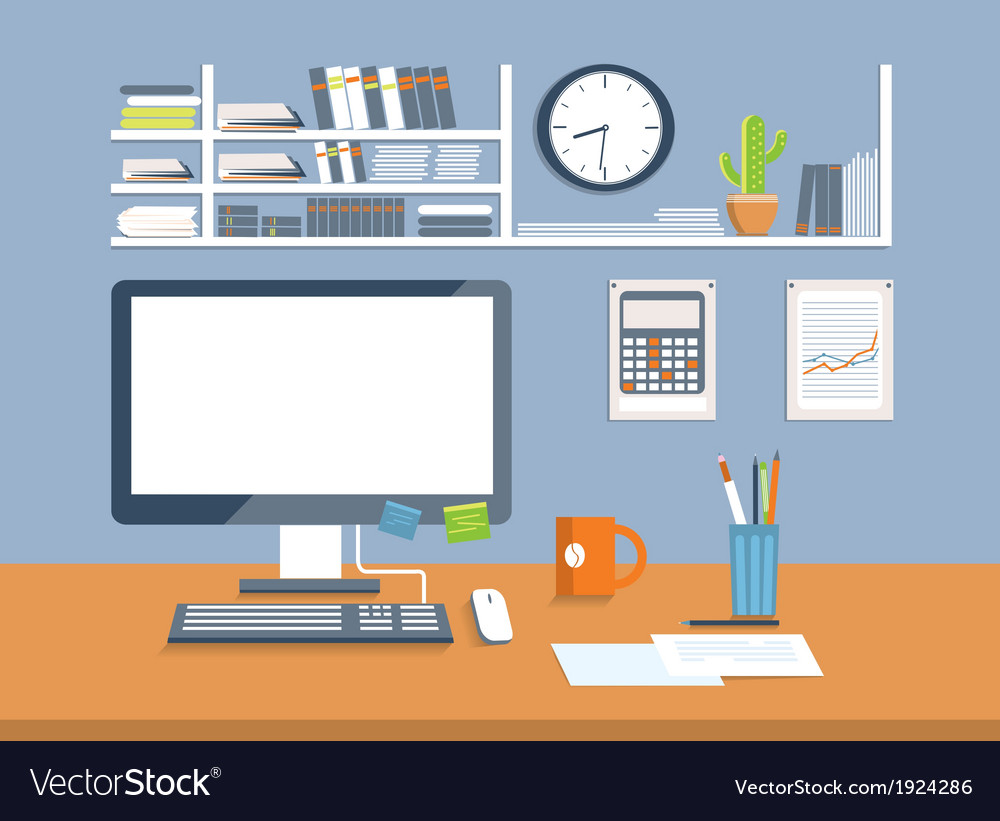 Interior office roomflat design style vector | Price: 1 Credit (USD $1)