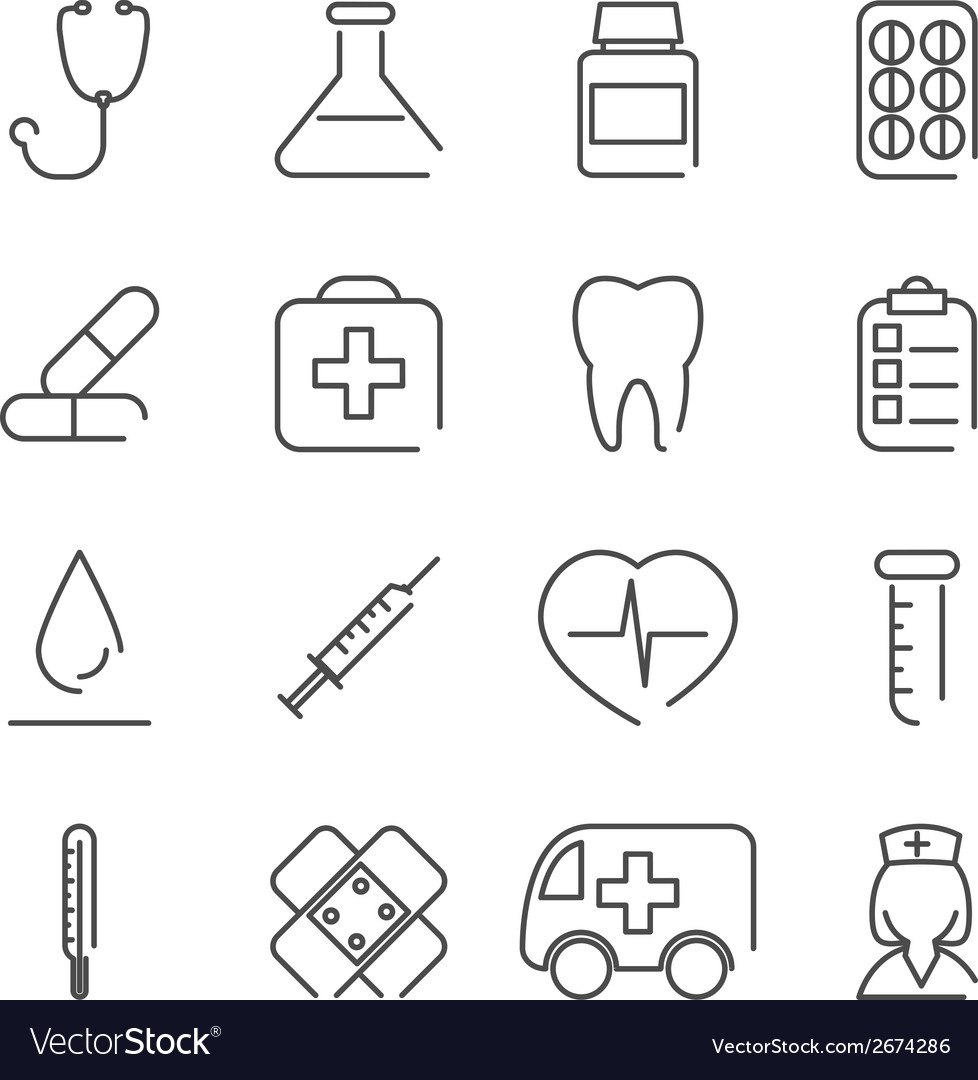 Modern line medical treatment icons and symbols vector | Price: 1 Credit (USD $1)