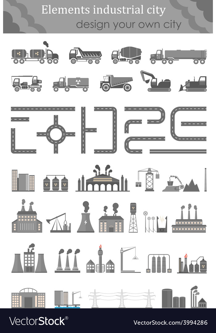 Set of maps for the industrial city vector | Price: 1 Credit (USD $1)