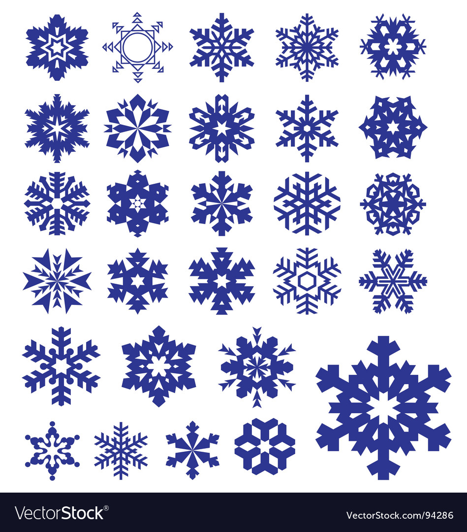 Snowflakes silhouettes collection vector | Price: 1 Credit (USD $1)