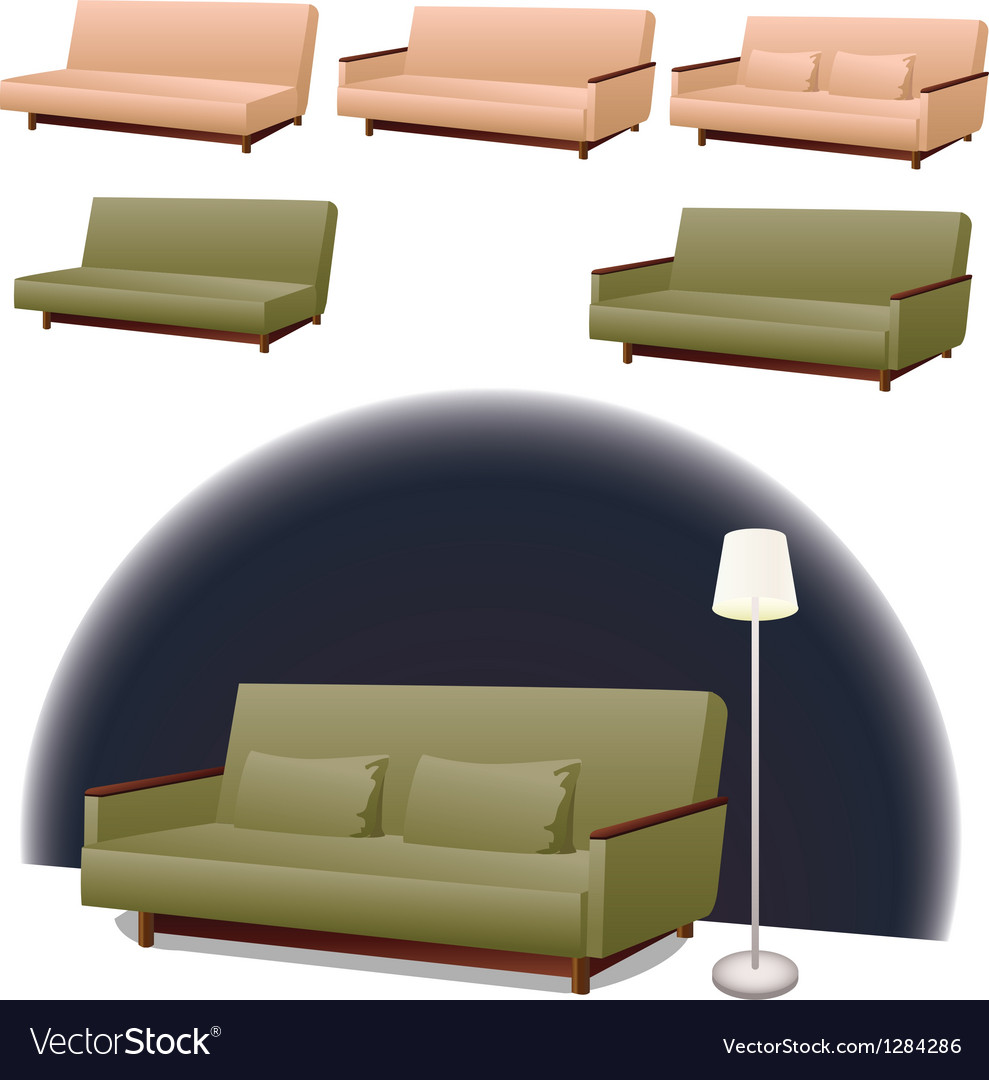 Sofa green and pink vector | Price: 1 Credit (USD $1)