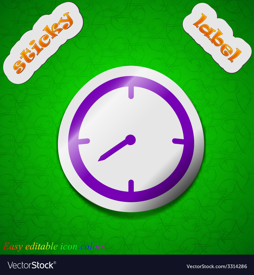 Timer icon sign symbol chic colored sticky label vector | Price: 1 Credit (USD $1)