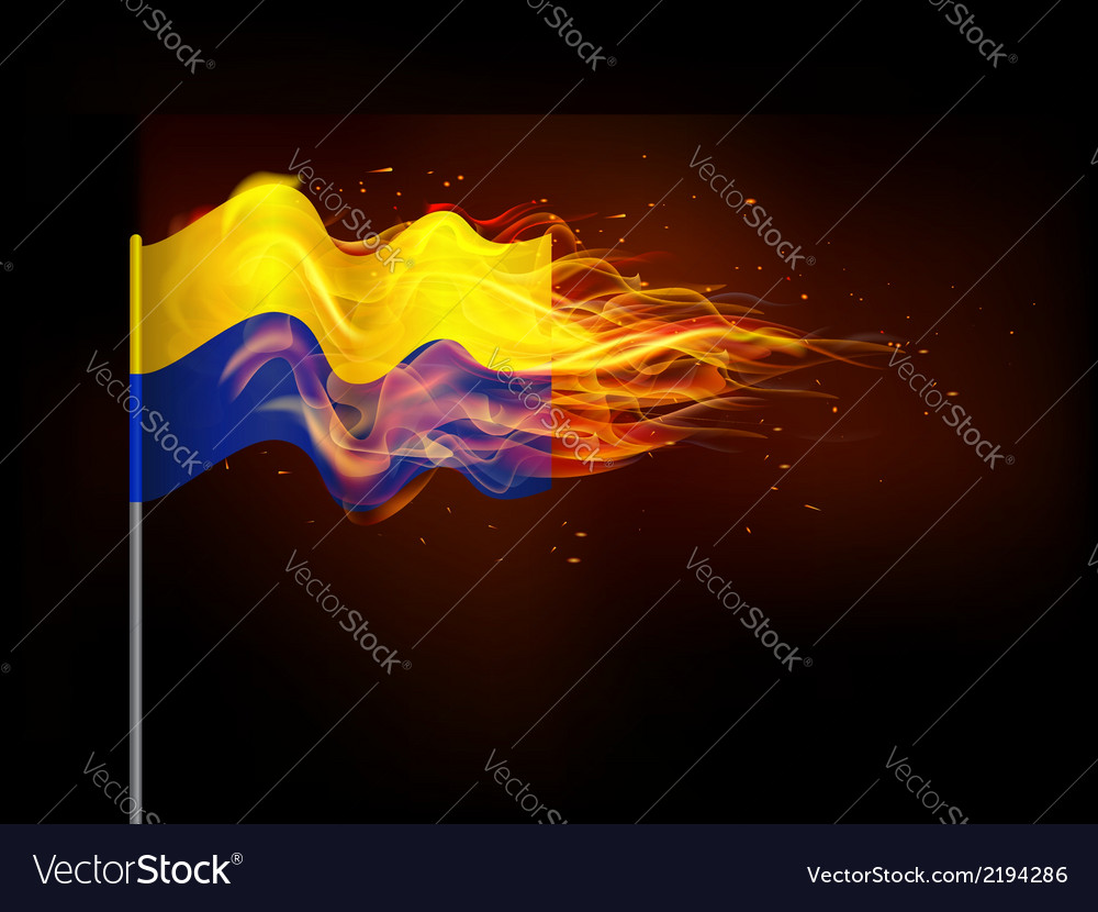 Ukrainian flag in flames the problem of armed vector | Price: 1 Credit (USD $1)