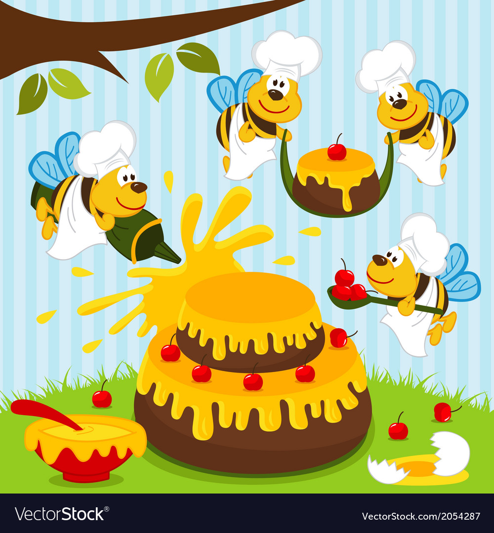 Bees chefs prepare cake vector | Price: 1 Credit (USD $1)