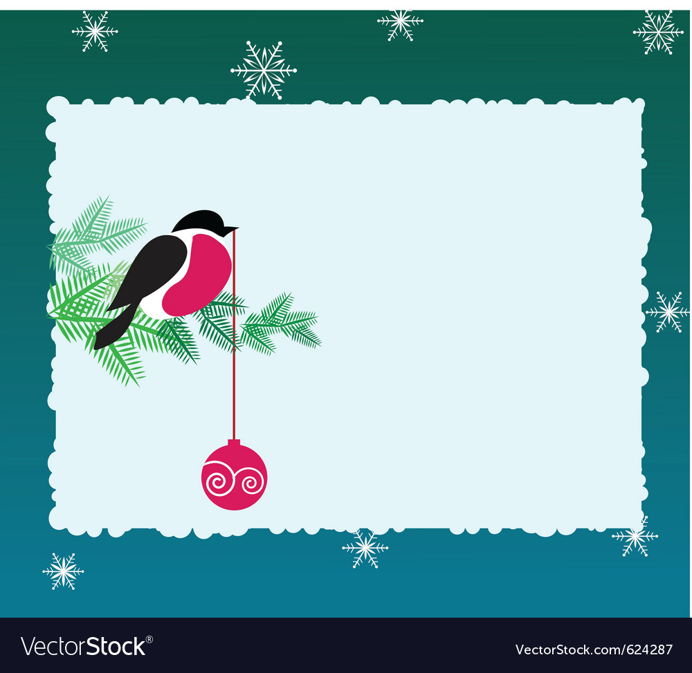 Bullfinch bird on winter background vector | Price: 1 Credit (USD $1)