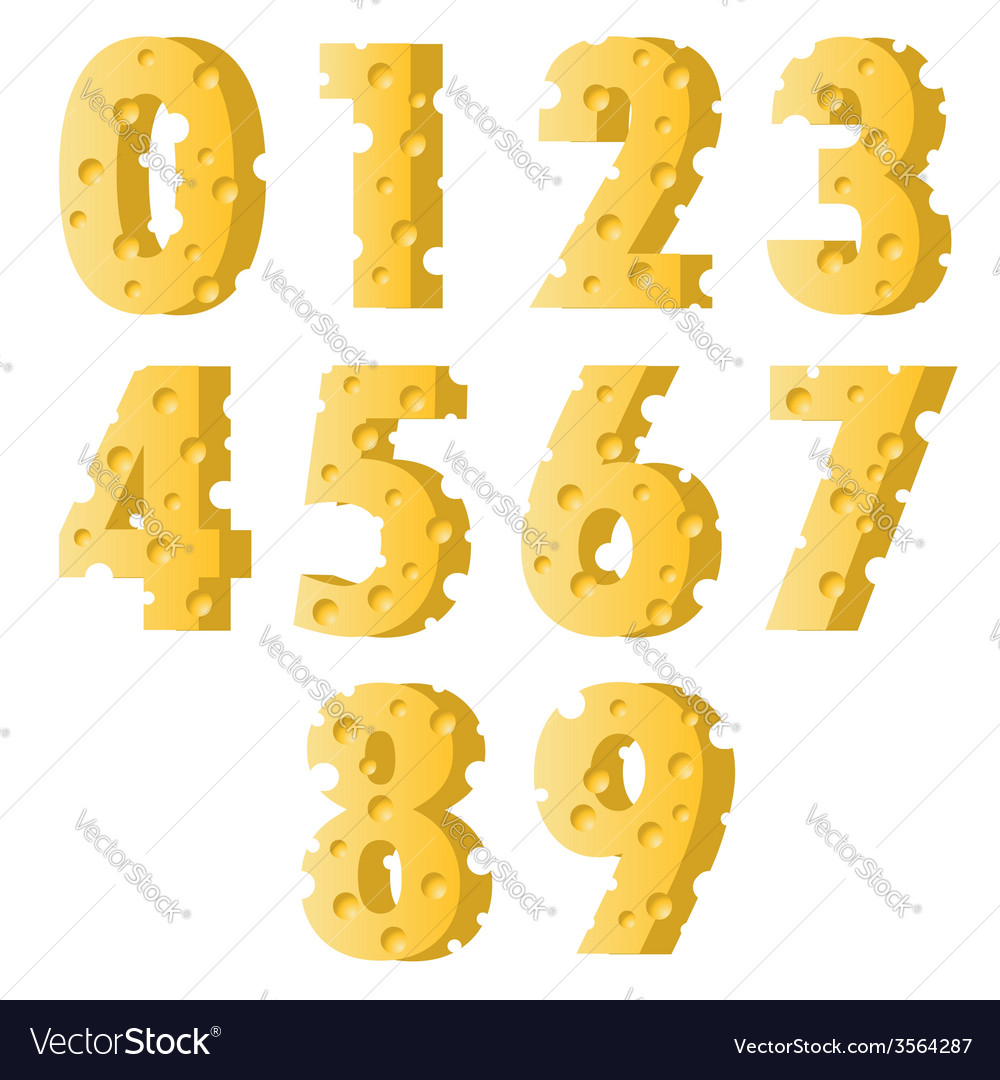 Cheese numbers vector | Price: 3 Credit (USD $3)