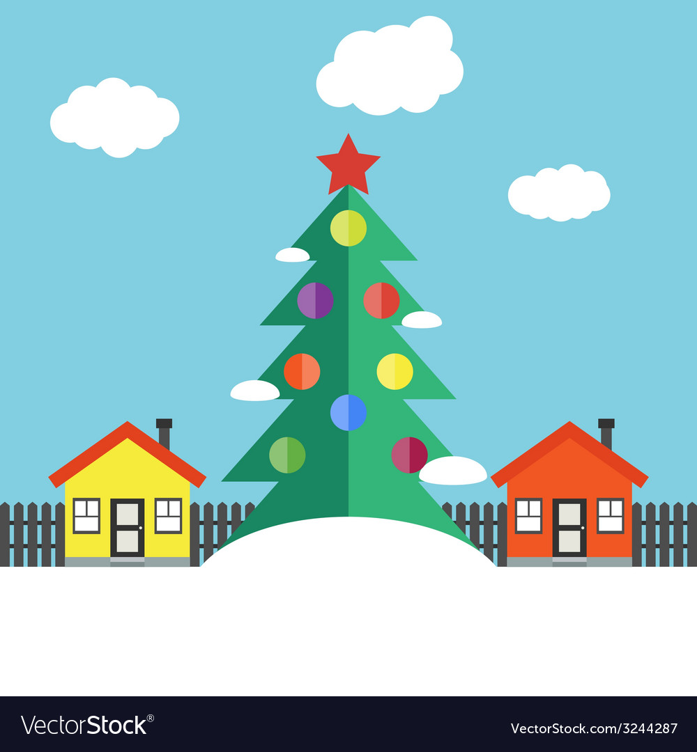 Christmas winter landscape vector | Price: 1 Credit (USD $1)