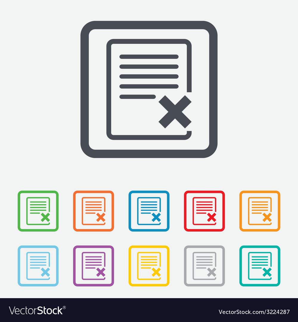 Delete file sign icon remove document symbol vector | Price: 1 Credit (USD $1)