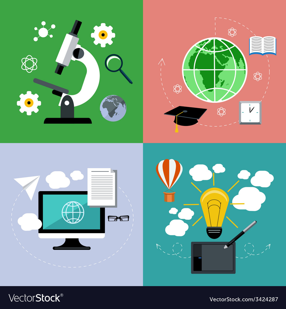 E learning and online education icons set vector | Price: 1 Credit (USD $1)
