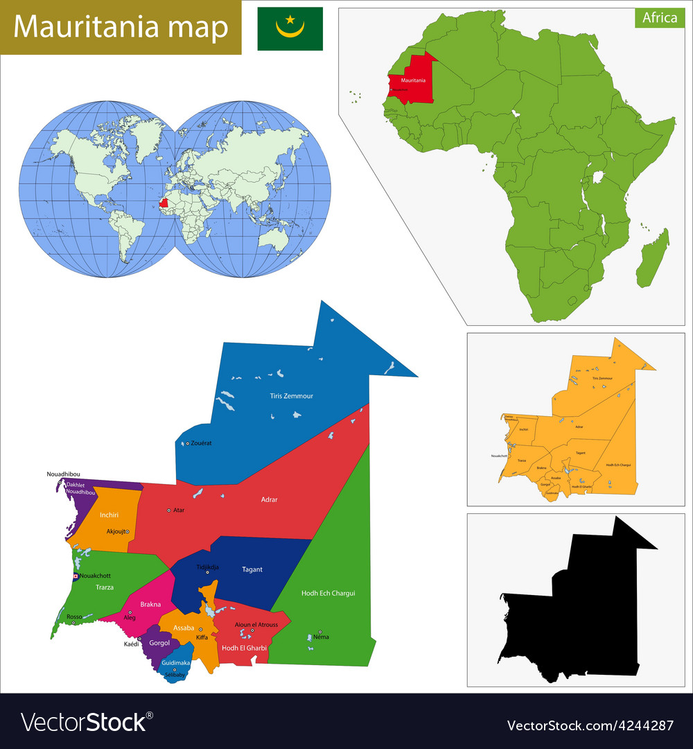 Mauritania map vector | Price: 1 Credit (USD $1)