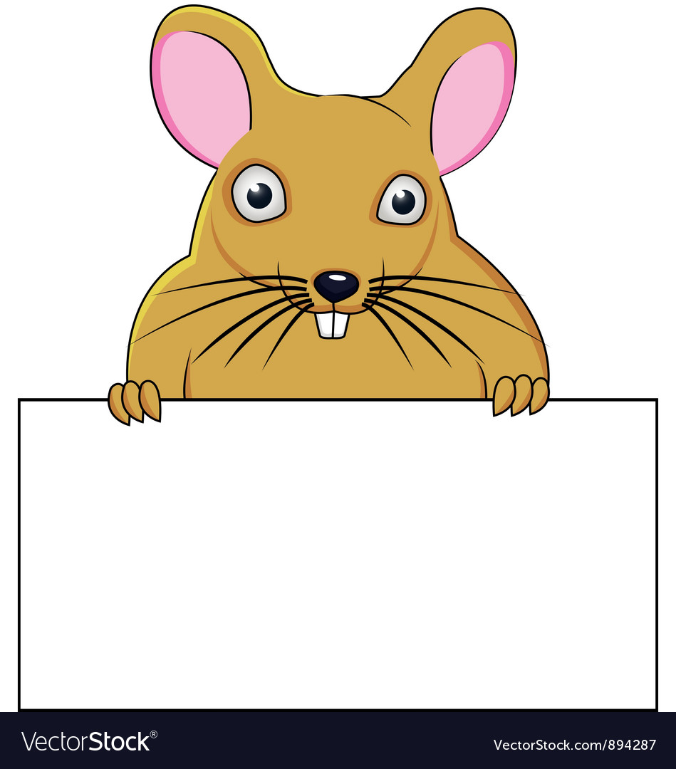Rat cartoon with blank sign vector | Price: 3 Credit (USD $3)