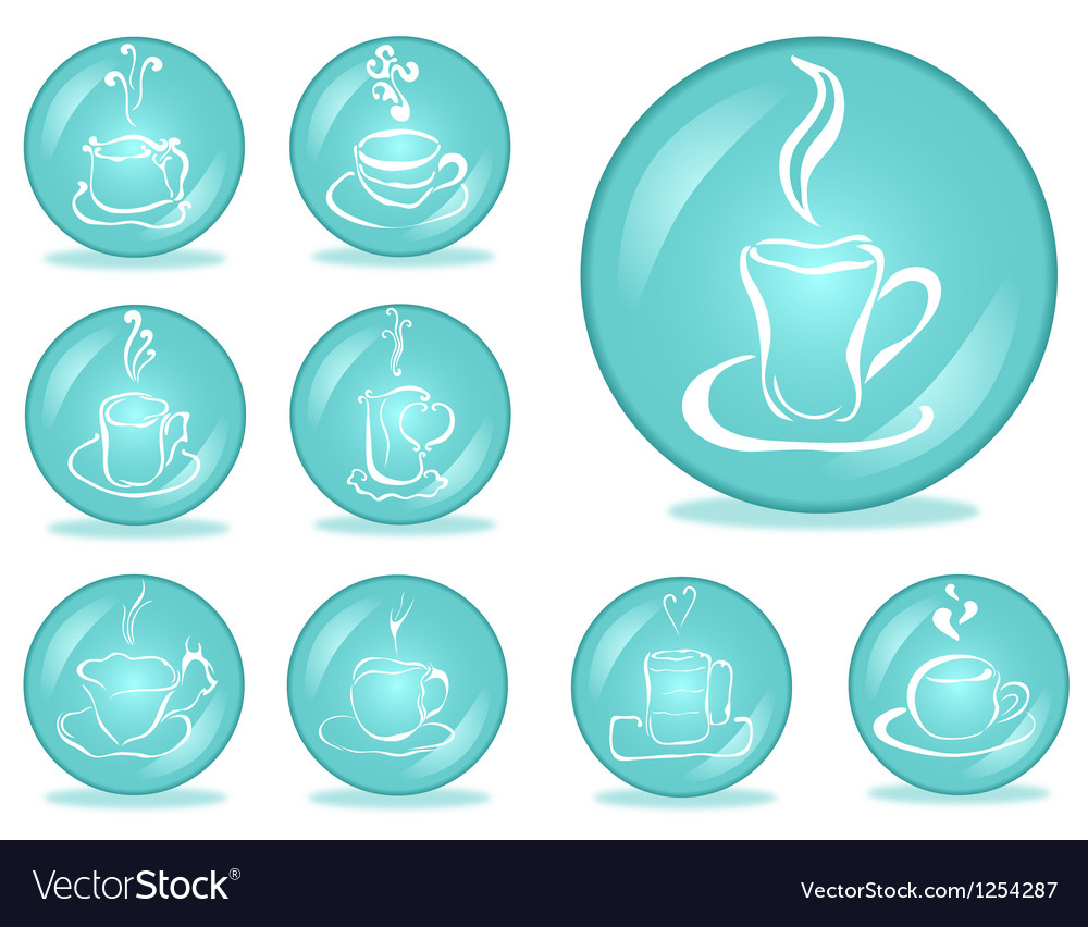 Set of coffee buttons vector | Price: 1 Credit (USD $1)