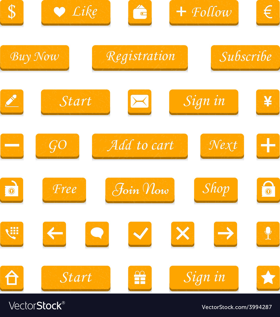 Set of orange buttons and web elements for vector | Price: 1 Credit (USD $1)