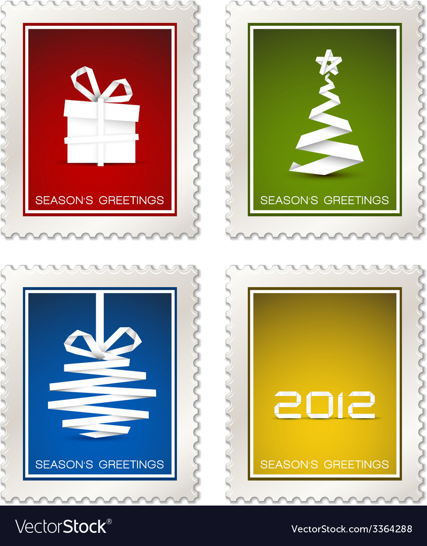 Collection of modern postage stamps vector | Price: 1 Credit (USD $1)