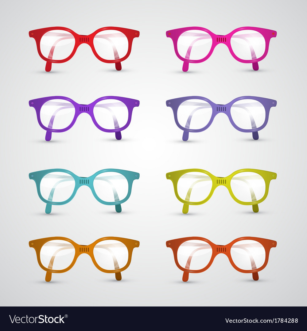 Colorful set of glasses isolated on grey vector | Price: 1 Credit (USD $1)