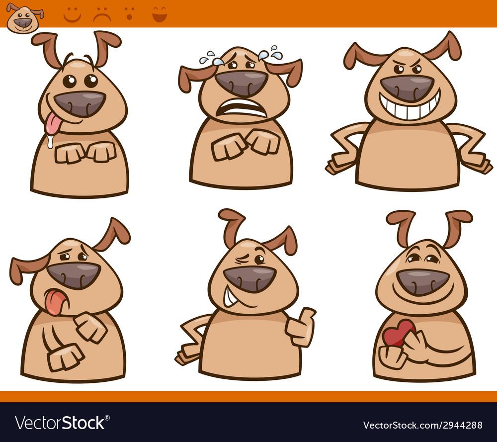 Dog emotions cartoon set vector | Price: 1 Credit (USD $1)