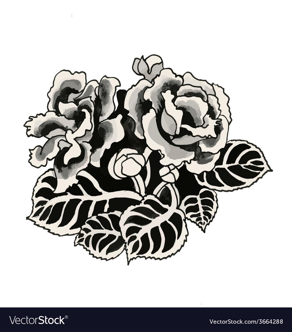 Hand drawn black roses vector   Price: 1 Credit (USD $1)