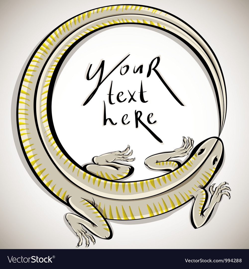 Lizard in round shape with copy space vector | Price: 1 Credit (USD $1)