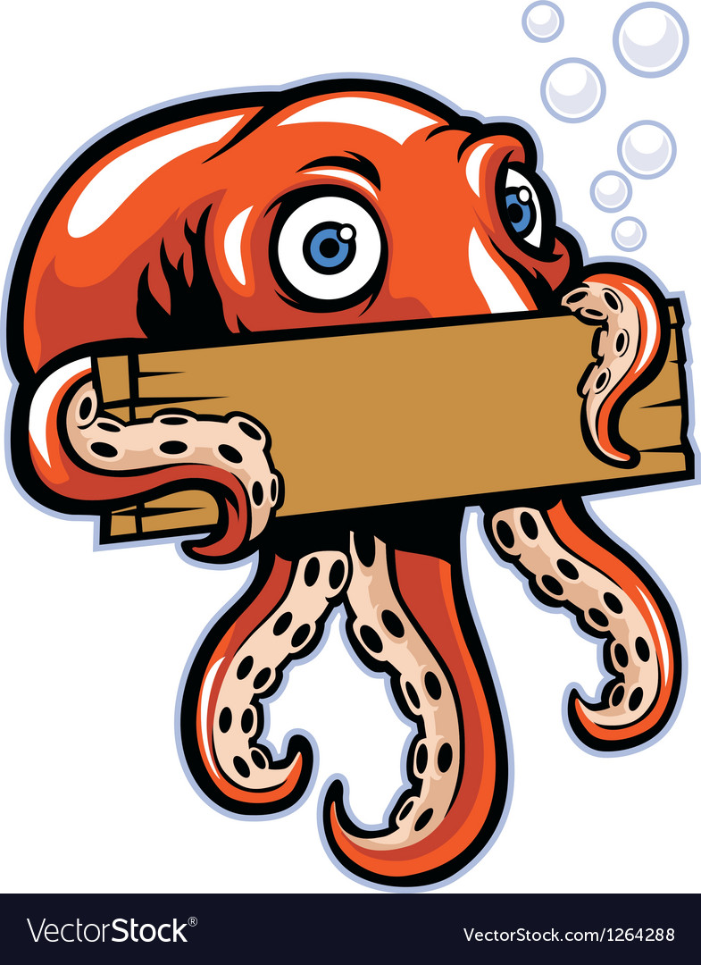 Octopus hold the sign vector | Price: 3 Credit (USD $3)