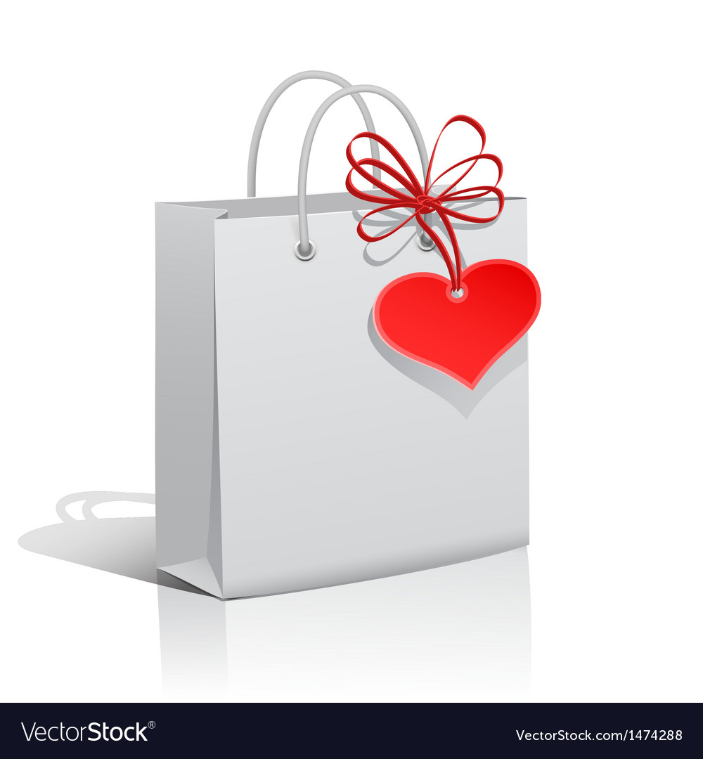 Paper bag with red heart tag vector | Price: 1 Credit (USD $1)