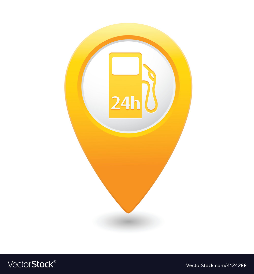Petrol station 24h map pointer yellow vector | Price: 1 Credit (USD $1)
