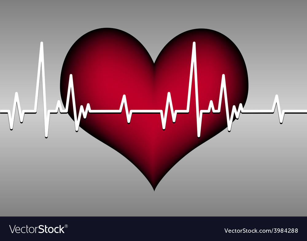 Red heart on grey with cardiogram vector | Price: 1 Credit (USD $1)