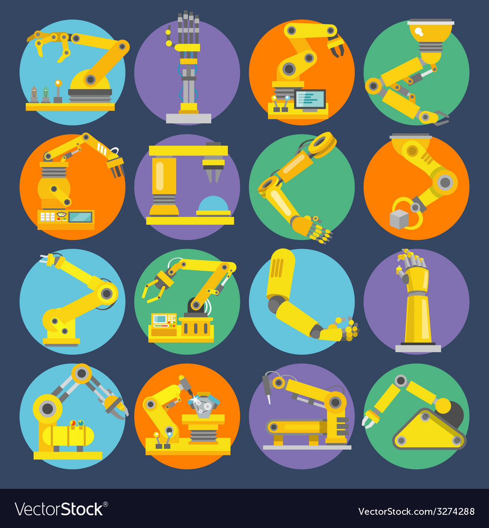 Robotic arm icons flat vector | Price: 1 Credit (USD $1)
