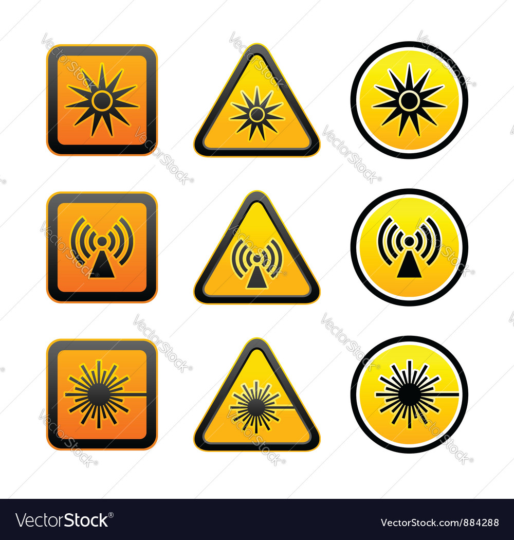 Set hazard warning symbols vector | Price: 1 Credit (USD $1)