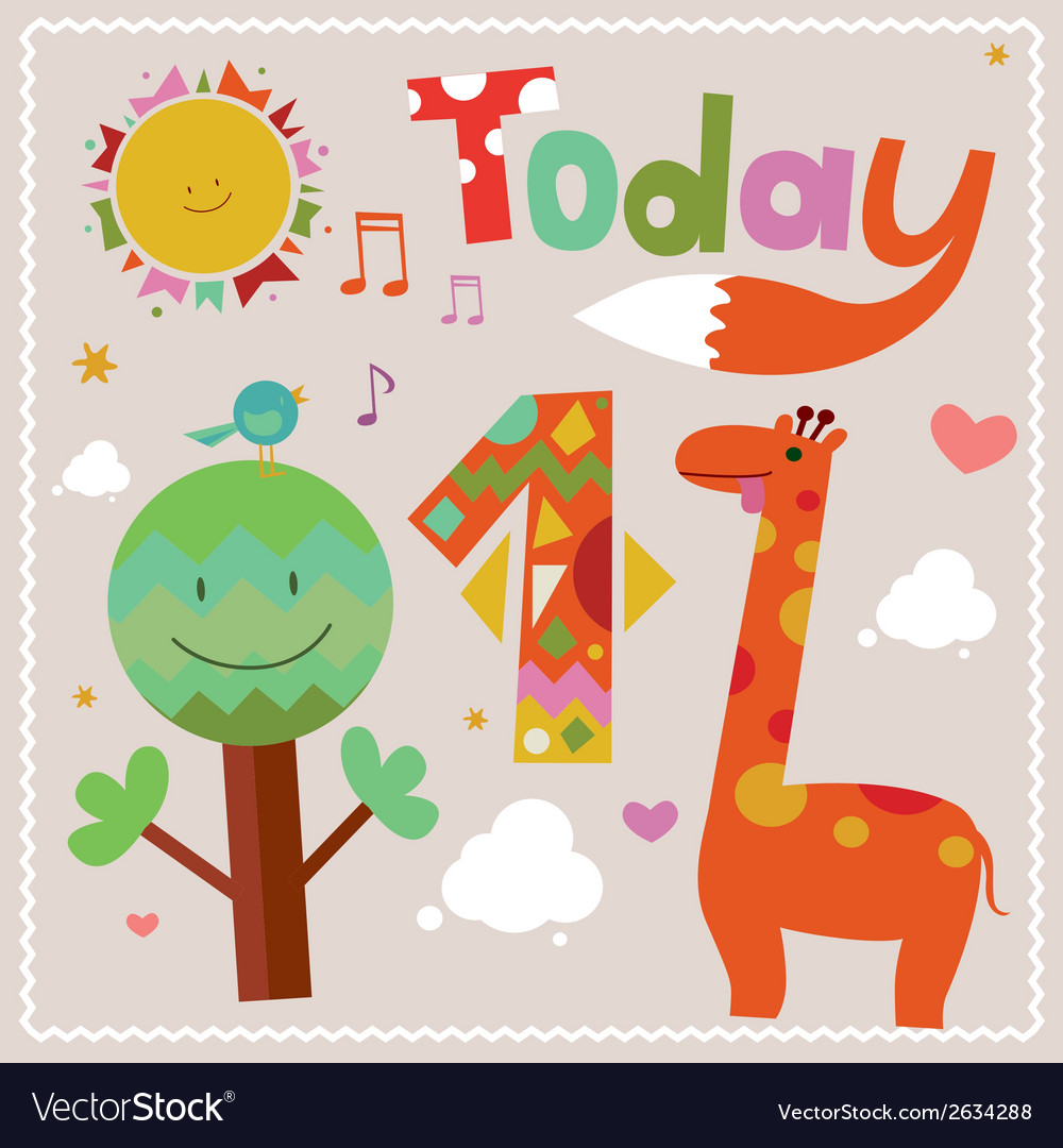Today is 1 holiday card vector | Price: 1 Credit (USD $1)
