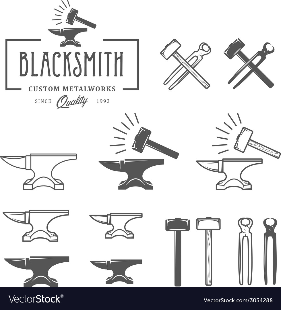 Vintage blacksmith labels and design elements vector | Price: 1 Credit (USD $1)