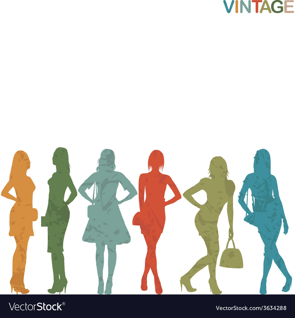 Vintage women silhouettes vector | Price: 1 Credit (USD $1)