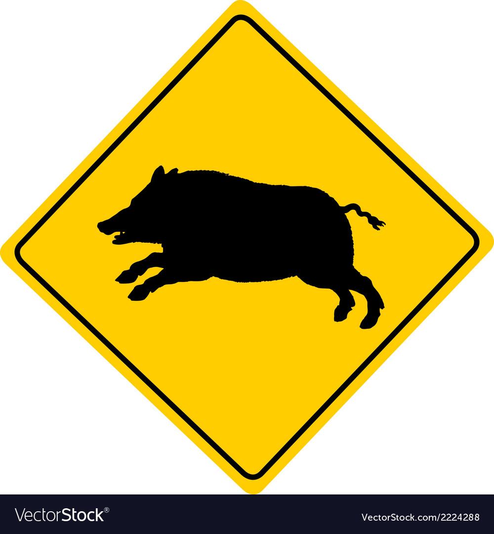 Wild boar warning sign vector | Price: 1 Credit (USD $1)