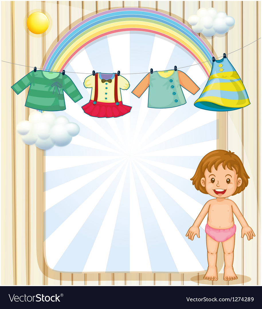 A baby below the hanging clothes vector | Price: 1 Credit (USD $1)