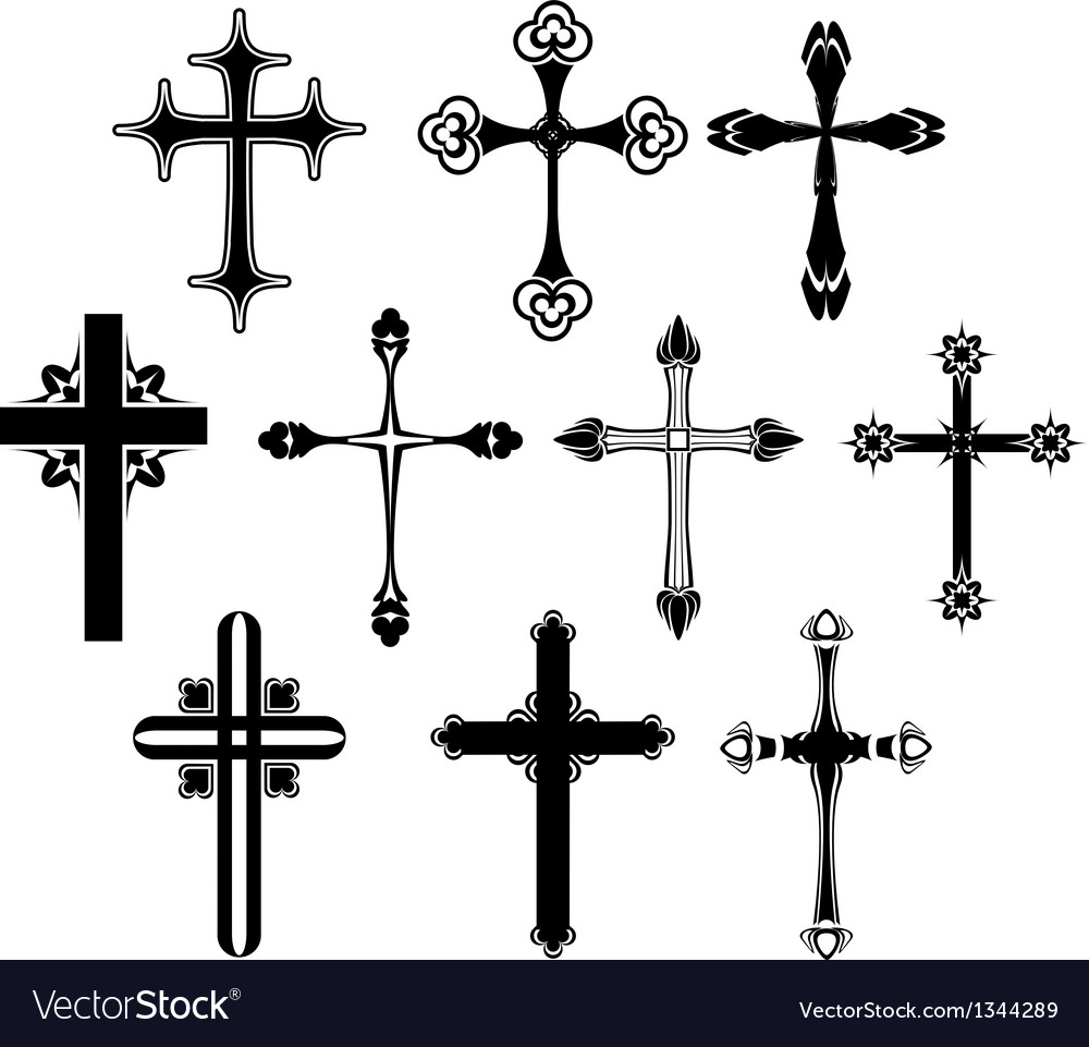 Cross symbol set vector | Price: 1 Credit (USD $1)