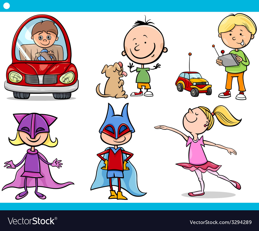 Cute little children cartoon set vector | Price: 1 Credit (USD $1)