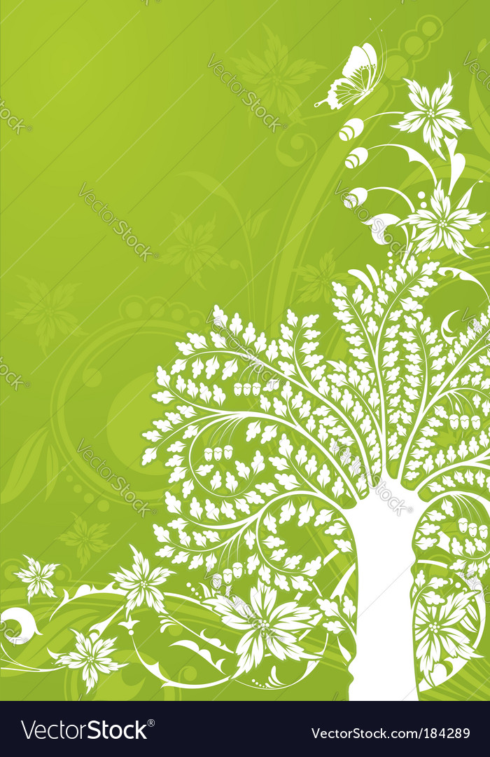 Floral background with tree vector | Price: 1 Credit (USD $1)