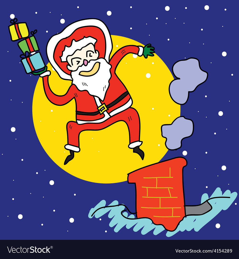 Funny santa jump over chimney under moonlight vector | Price: 1 Credit (USD $1)