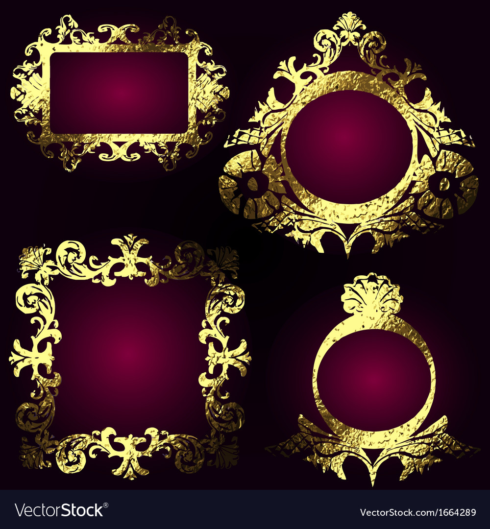 Golden frames set vector | Price: 1 Credit (USD $1)