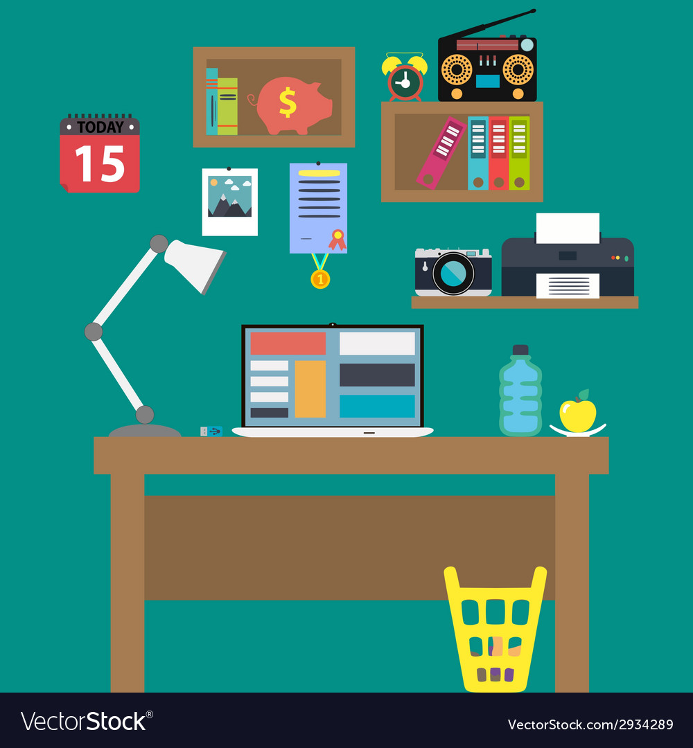 Office workstation with notebook lamp and recorder vector | Price: 1 Credit (USD $1)